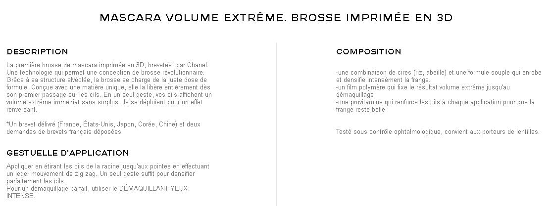 volume révolution de chanel mascara volume extrême brosse imprimée en 3D