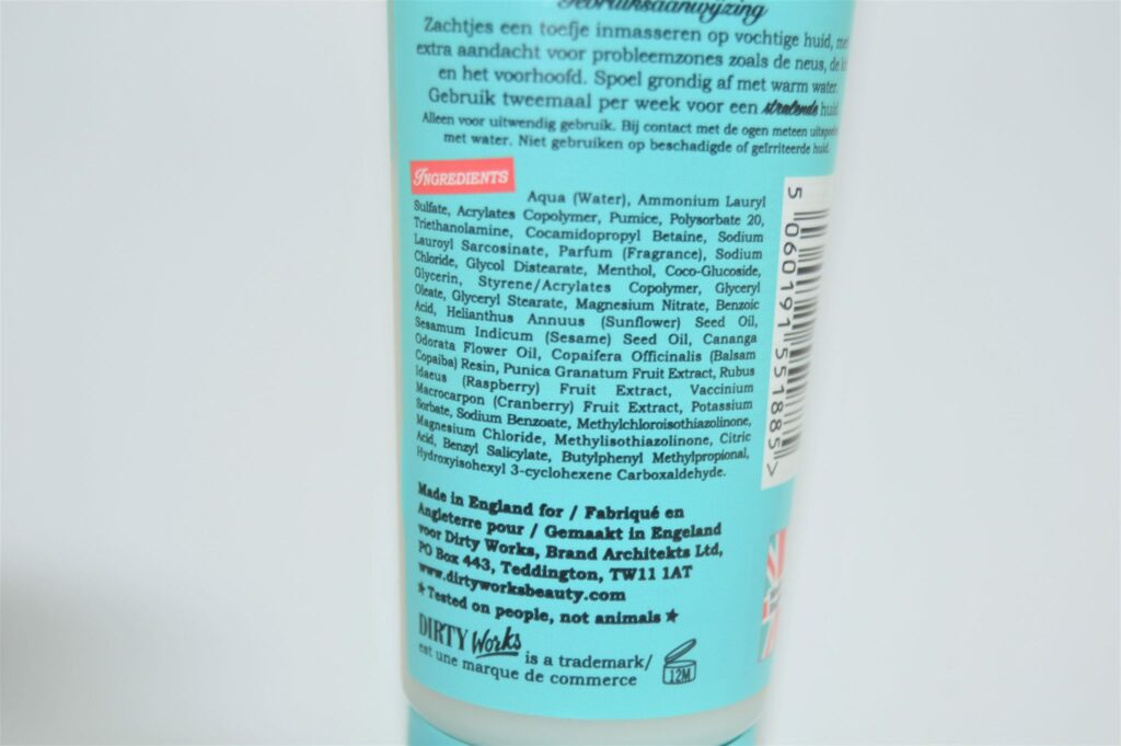 ingrédients pore-fect facescrub dirty Works