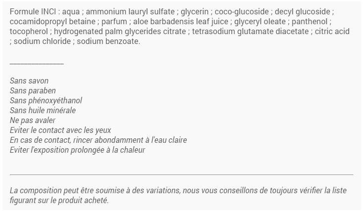 compostion ingrédients gel douche laino vanille ambrée