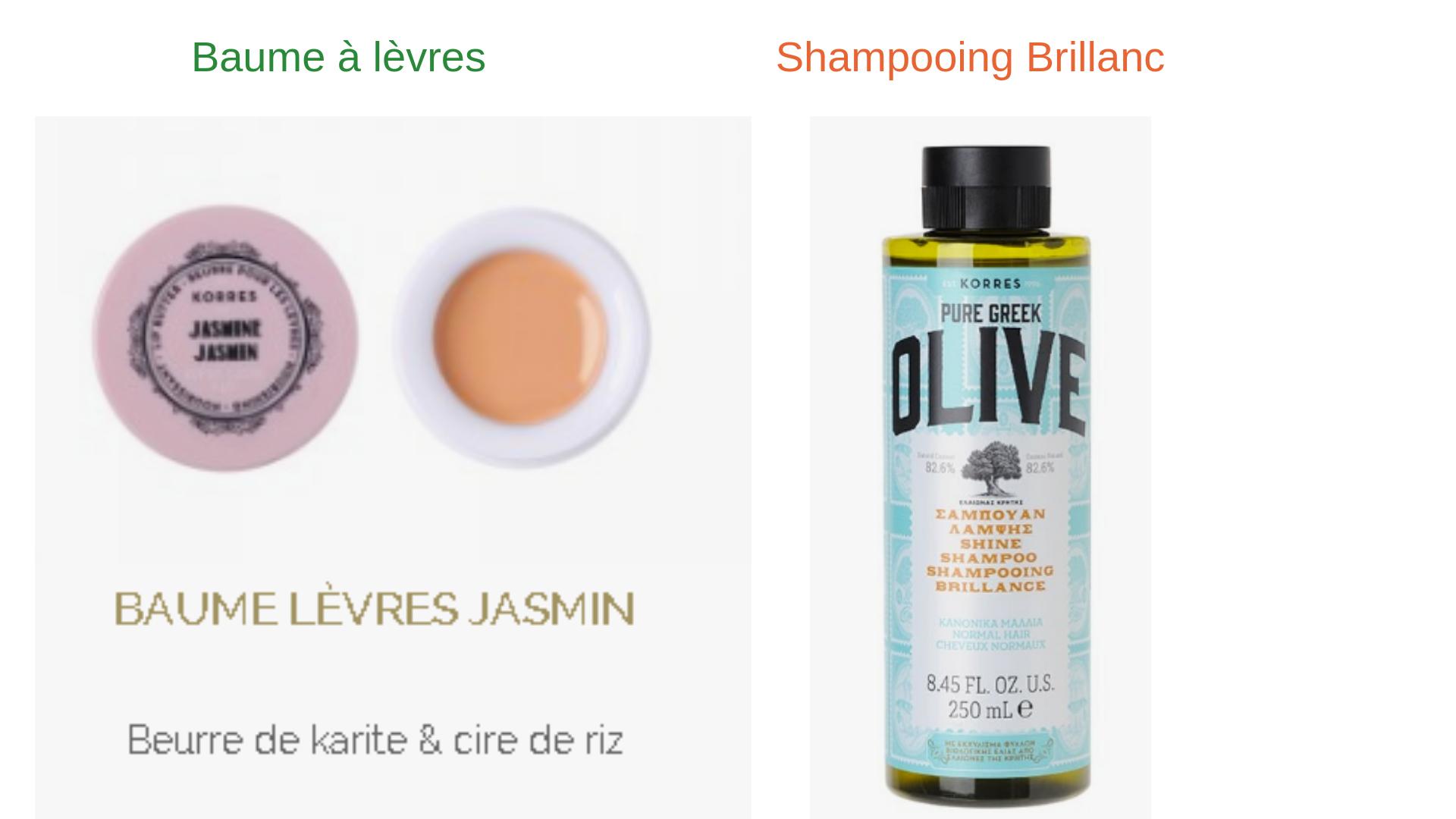 KORRES shampooing et baume a levres