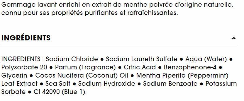 composition ingrédients gommage lavant sephora à la menthe poivrée