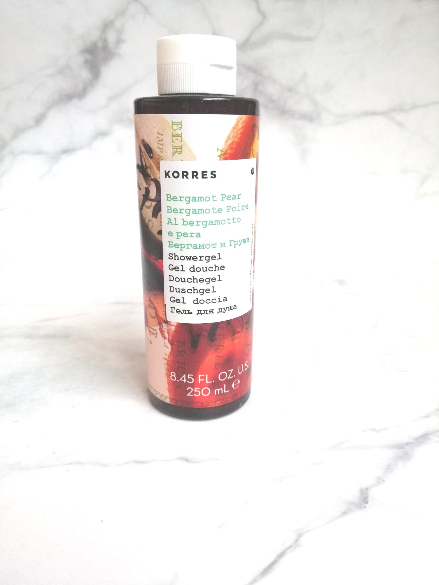 gel douche korres bergamote poire flacon 250 ml