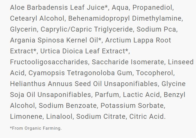 liste ingrédients masque fondant hydrata aloe vera de christophe Robin