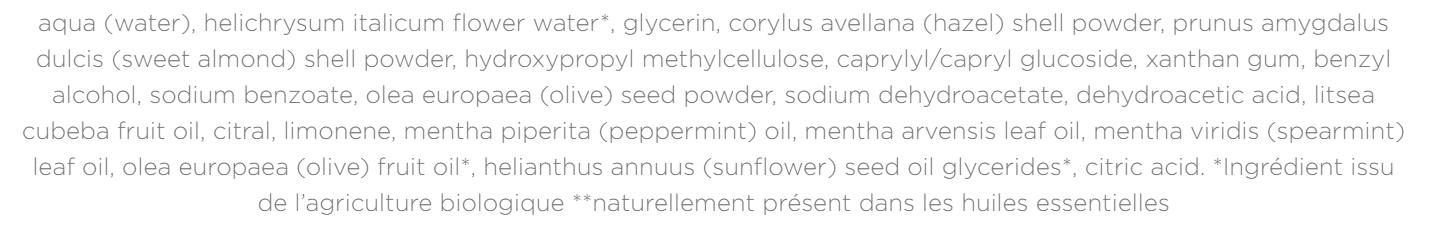 liste des ingrédients gommage corps verveine huygens